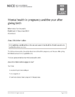 Mental Health in pregnancy and the year after giving birth [guidance in high income setting]